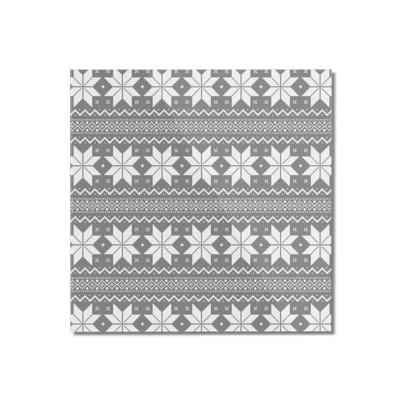 Cross Stitch Snowflakes - Wintery Gray Home Mounted Acrylic Print by prettyprismatic's Artist Shop