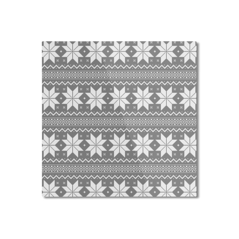 Cross Stitch Snowflakes - Wintery Gray Home Mounted Aluminum Print by prettyprismatic's Artist Shop