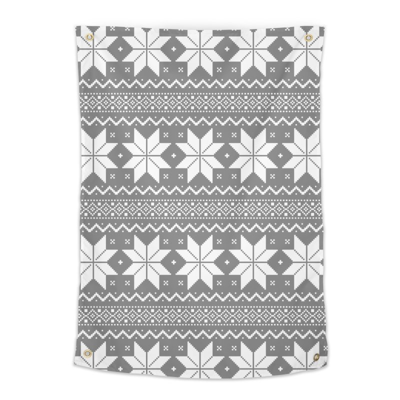 Cross Stitch Snowflakes - Wintery Gray Home Tapestry by prettyprismatic's Artist Shop