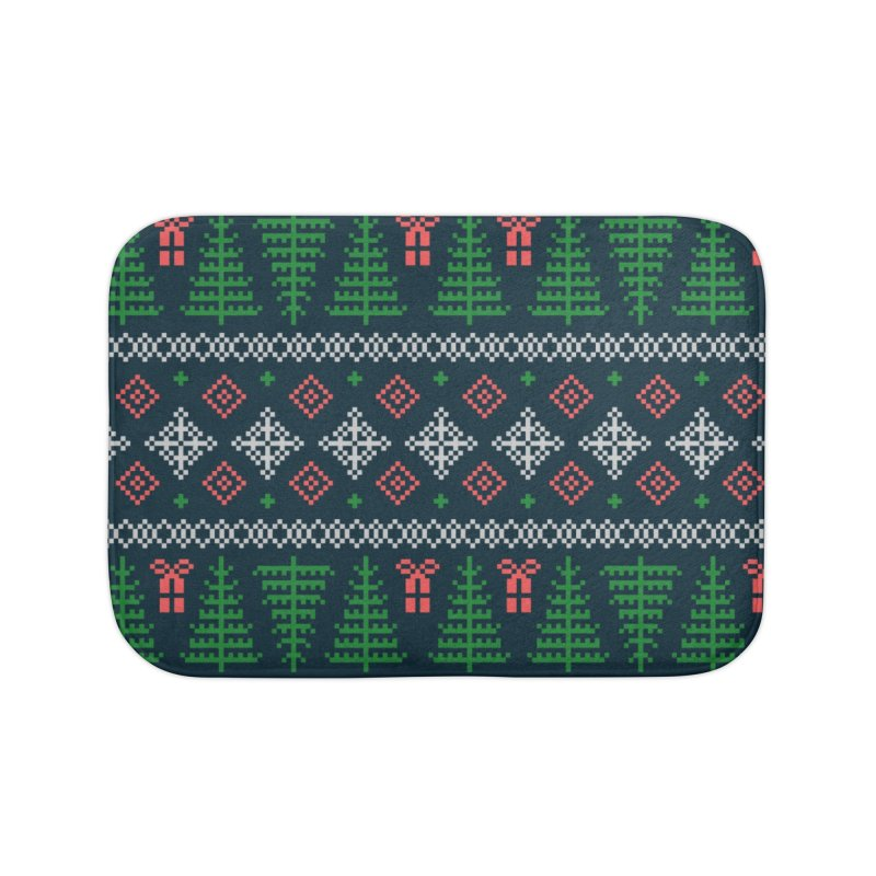 Christmas Sweater Tree Pattern - Dark Blue Home Bath Mat by prettyprismatic's Artist Shop