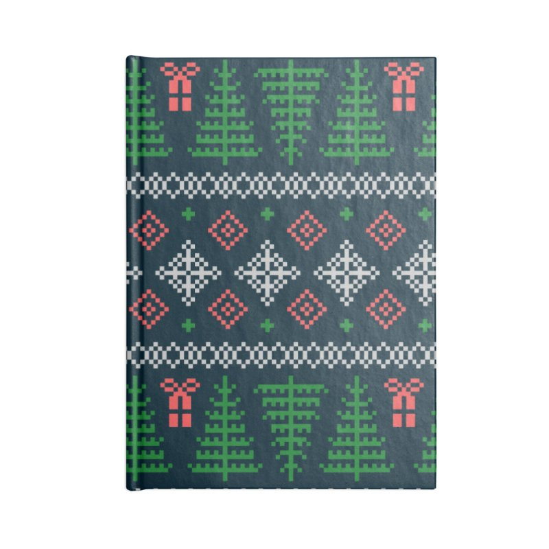 Christmas Sweater Tree Pattern - Dark Blue Accessories Blank Journal Notebook by prettyprismatic's Artist Shop