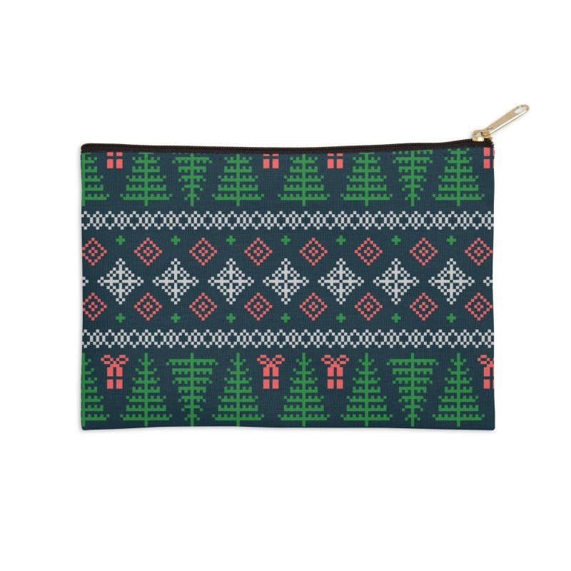 Christmas Sweater Tree Pattern - Dark Blue Accessories Zip Pouch by prettyprismatic's Artist Shop