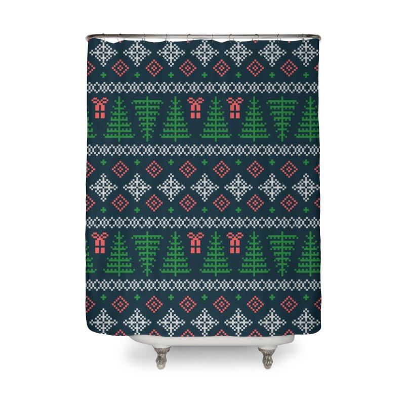 Christmas Sweater Tree Pattern - Dark Blue Home Shower Curtain by prettyprismatic's Artist Shop