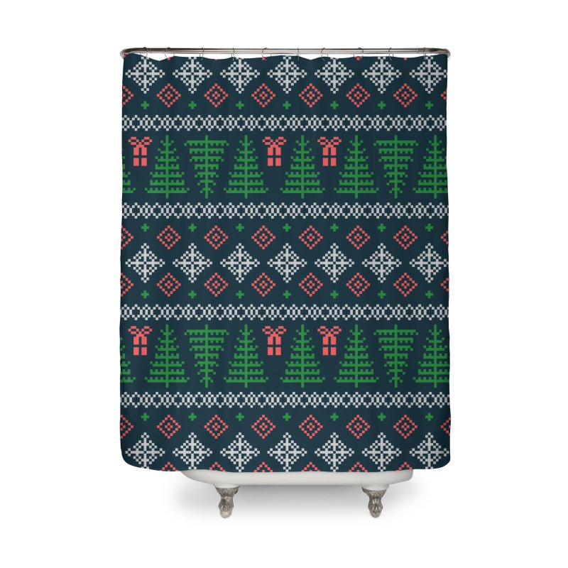 Christmas Sweater Tree Pattern - Dark Blue Home Shower Curtain by prettyprismatic's Artist Shop