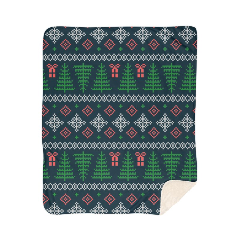 Christmas Sweater Tree Pattern - Dark Blue Home Sherpa Blanket Blanket by prettyprismatic's Artist Shop