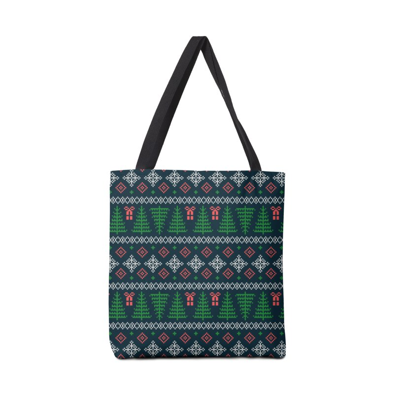 Christmas Sweater Tree Pattern - Dark Blue Accessories Tote Bag Bag by prettyprismatic's Artist Shop