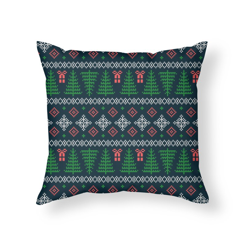 Christmas Sweater Tree Pattern - Dark Blue Home Throw Pillow by prettyprismatic's Artist Shop