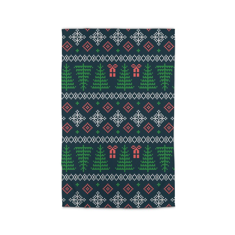 Christmas Sweater Tree Pattern - Dark Blue Home Rug by prettyprismatic's Artist Shop
