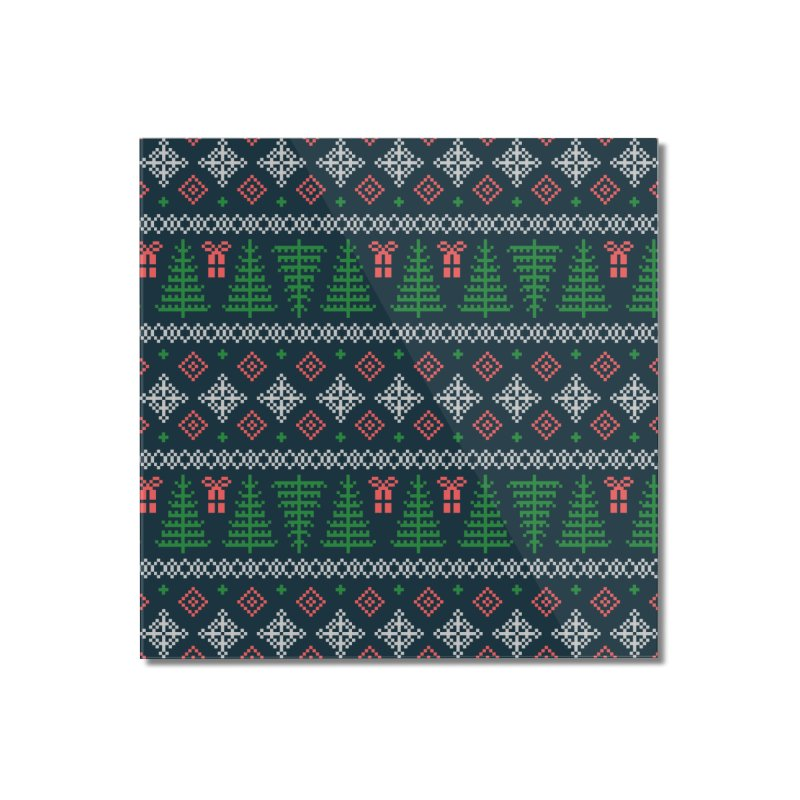Christmas Sweater Tree Pattern - Dark Blue Home Mounted Acrylic Print by prettyprismatic's Artist Shop