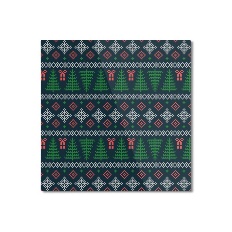 Christmas Sweater Tree Pattern - Dark Blue Home Mounted Aluminum Print by prettyprismatic's Artist Shop