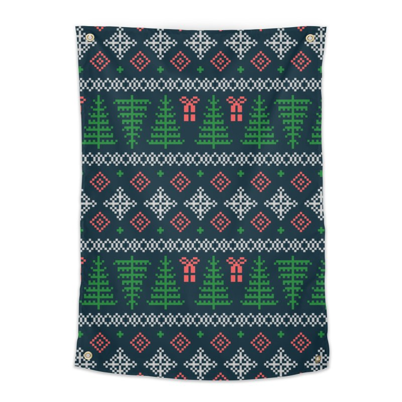 Christmas Sweater Tree Pattern - Dark Blue Home Tapestry by prettyprismatic's Artist Shop
