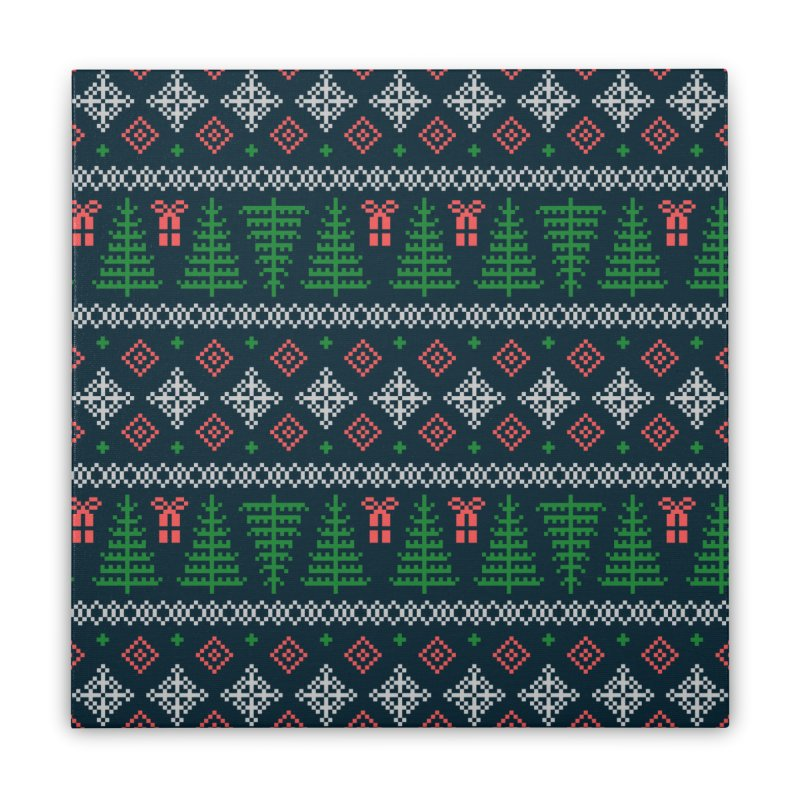 Christmas Sweater Tree Pattern - Dark Blue Home Stretched Canvas by prettyprismatic's Artist Shop