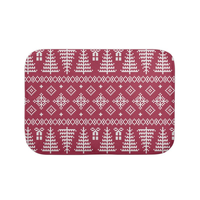 Christmas Sweater Tree Pattern - Classic Red Home Bath Mat by prettyprismatic's Artist Shop