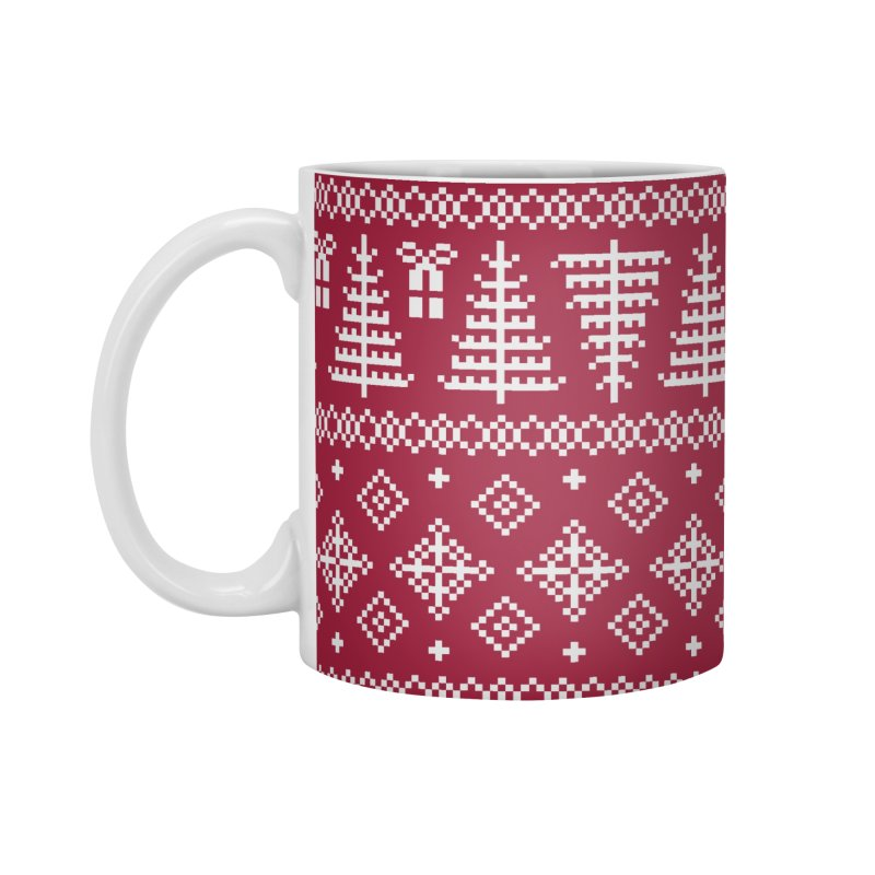 Christmas Sweater Tree Pattern - Classic Red Accessories Mug by prettyprismatic's Artist Shop