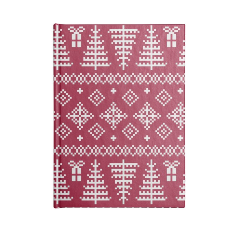 Christmas Sweater Tree Pattern - Classic Red Accessories Notebook by prettyprismatic's Artist Shop
