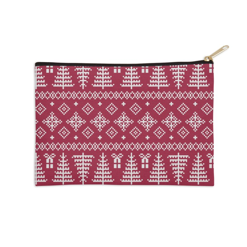 Christmas Sweater Tree Pattern - Classic Red Accessories Zip Pouch by prettyprismatic's Artist Shop