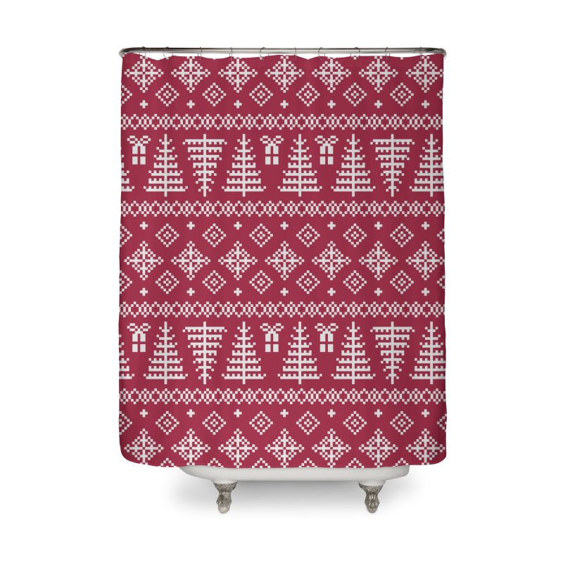 Christmas Sweater Tree Pattern - Classic Red Home Shower Curtain by prettyprismatic's Artist Shop