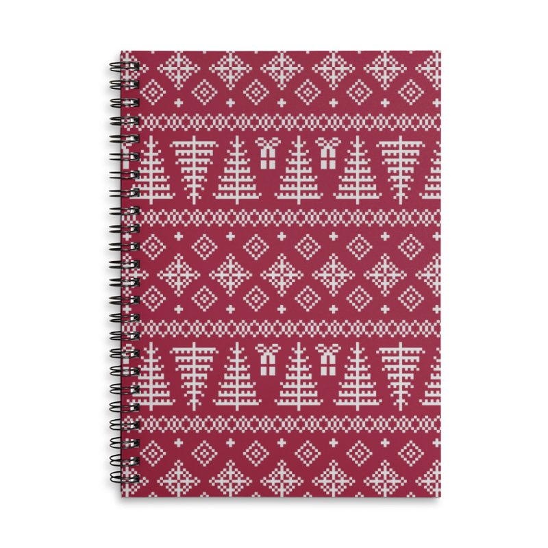 Christmas Sweater Tree Pattern - Classic Red Accessories Lined Spiral Notebook by prettyprismatic's Artist Shop