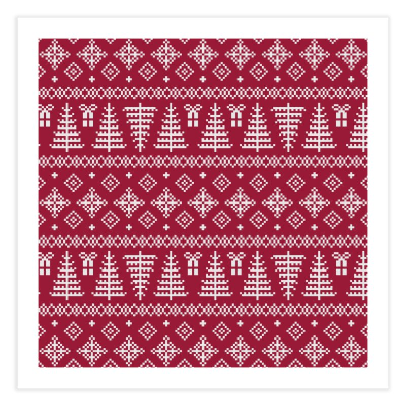 Christmas Sweater Tree Pattern - Classic Red Home Fine Art Print by prettyprismatic's Artist Shop