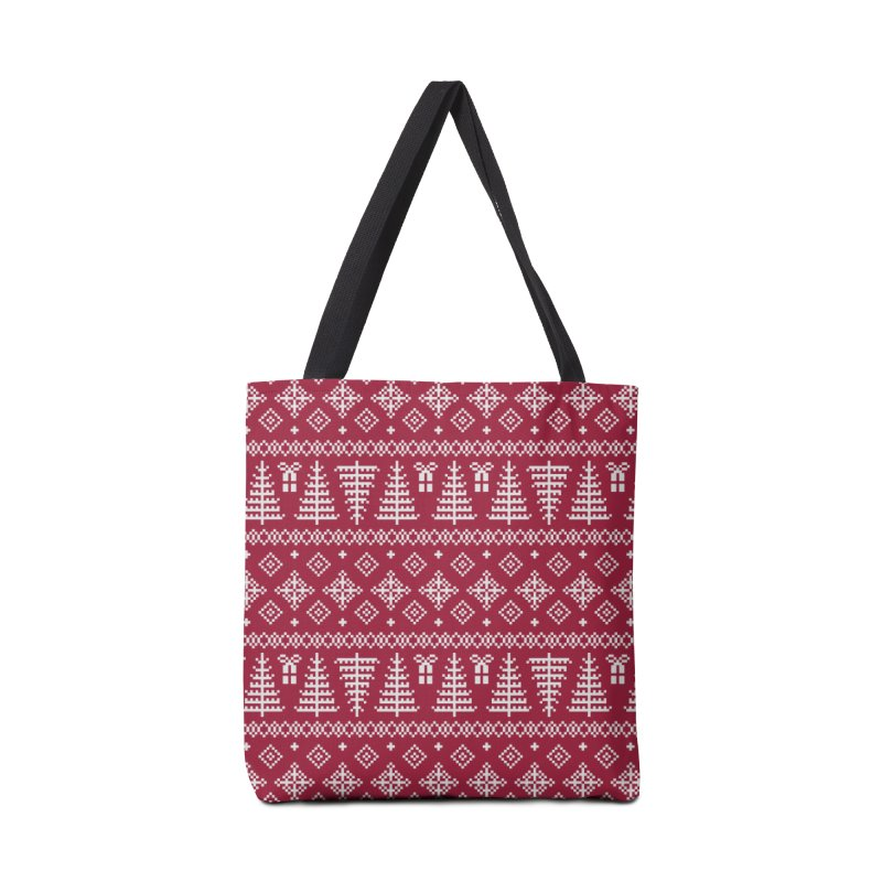 Christmas Sweater Tree Pattern - Classic Red Accessories Tote Bag Bag by prettyprismatic's Artist Shop