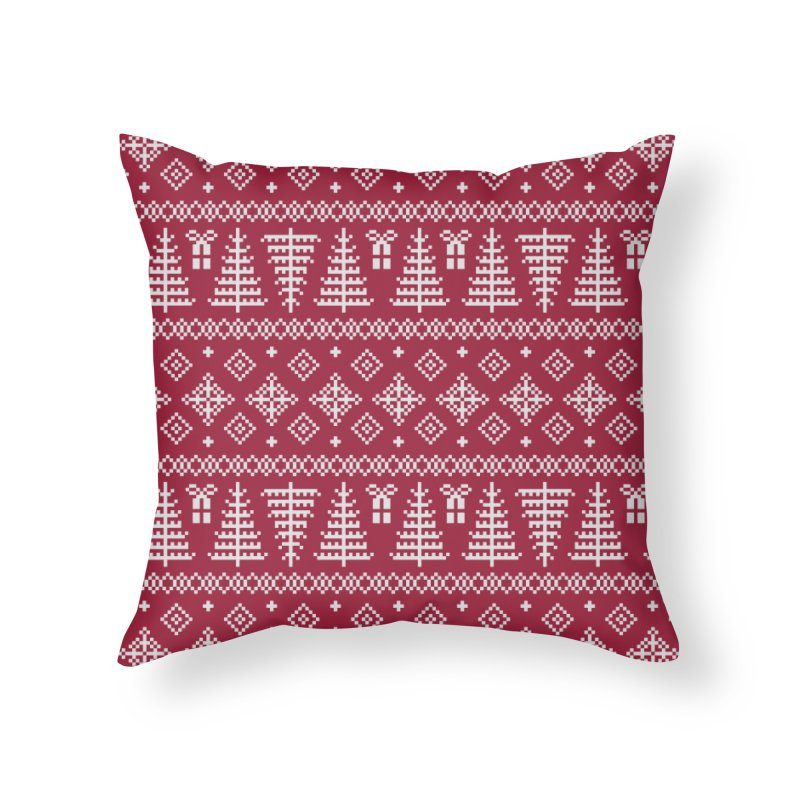 Christmas Sweater Tree Pattern - Classic Red Home Throw Pillow by prettyprismatic's Artist Shop