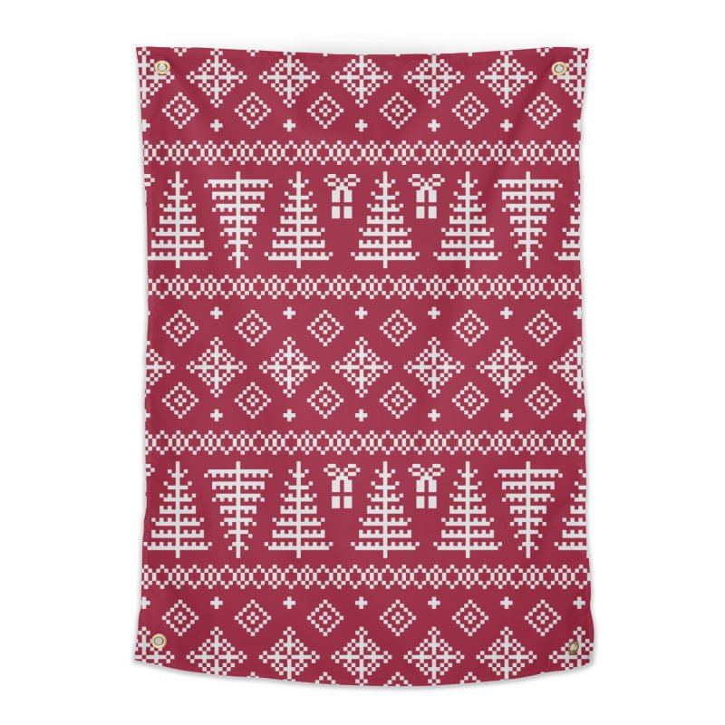 Christmas Sweater Tree Pattern - Classic Red Home Tapestry by prettyprismatic's Artist Shop