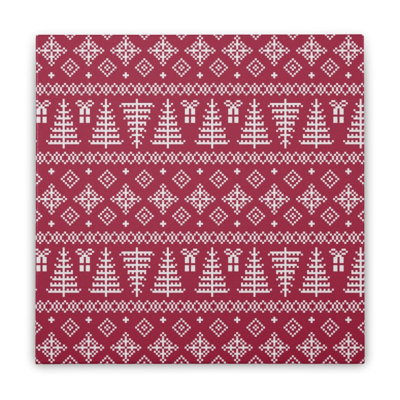 Christmas Sweater Tree Pattern - Classic Red Home Stretched Canvas by prettyprismatic's Artist Shop