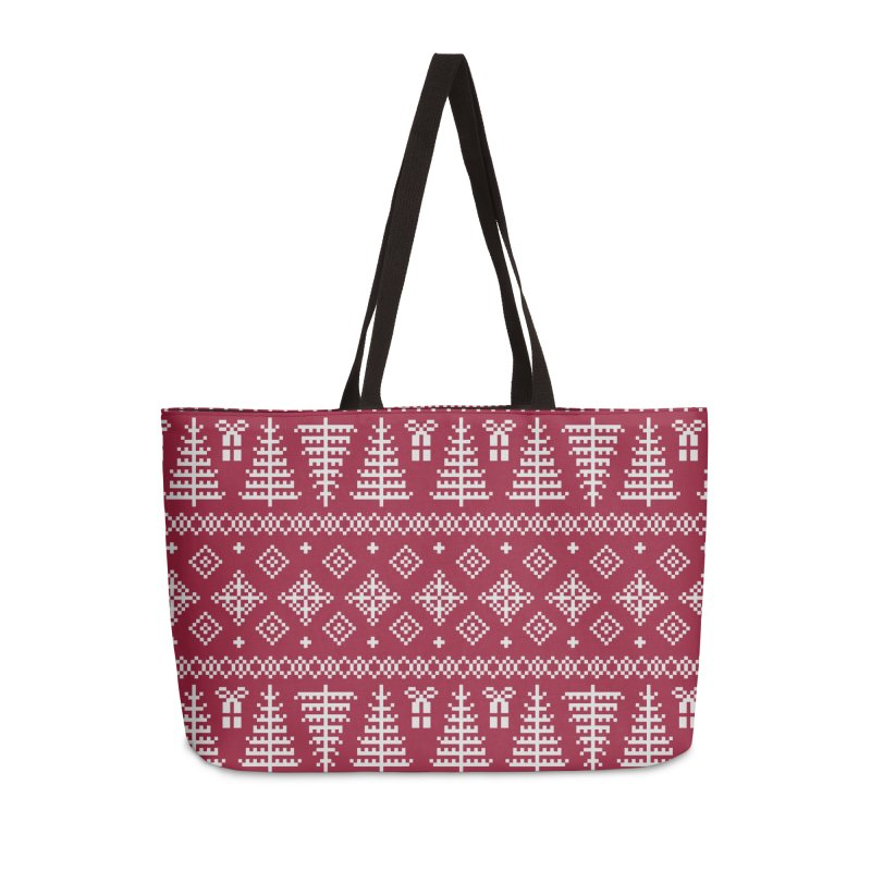 Christmas Sweater Tree Pattern - Classic Red Accessories Weekender Bag Bag by prettyprismatic's Artist Shop