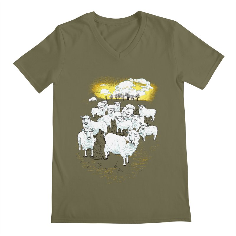 Hide & Sheep Men's V-Neck by Primary Hughes Artist Shop