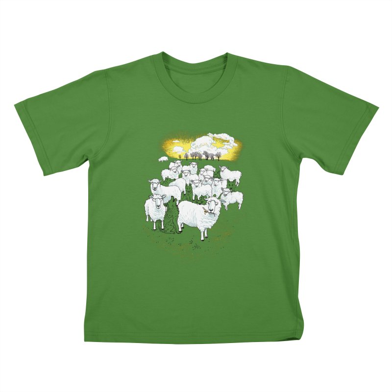 Hide & Sheep Kids T-Shirt by Primary Hughes Artist Shop