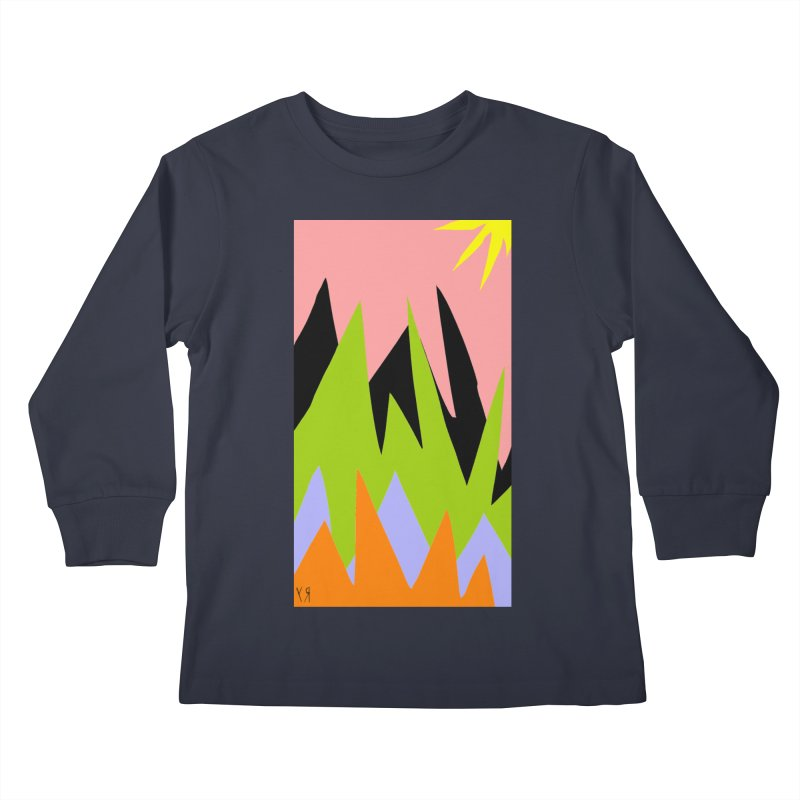 """""""Happy Death Mountains"""" by Richard F. Yates Kids Longsleeve T-Shirt by The Primitive Entertainment Workshop!"""