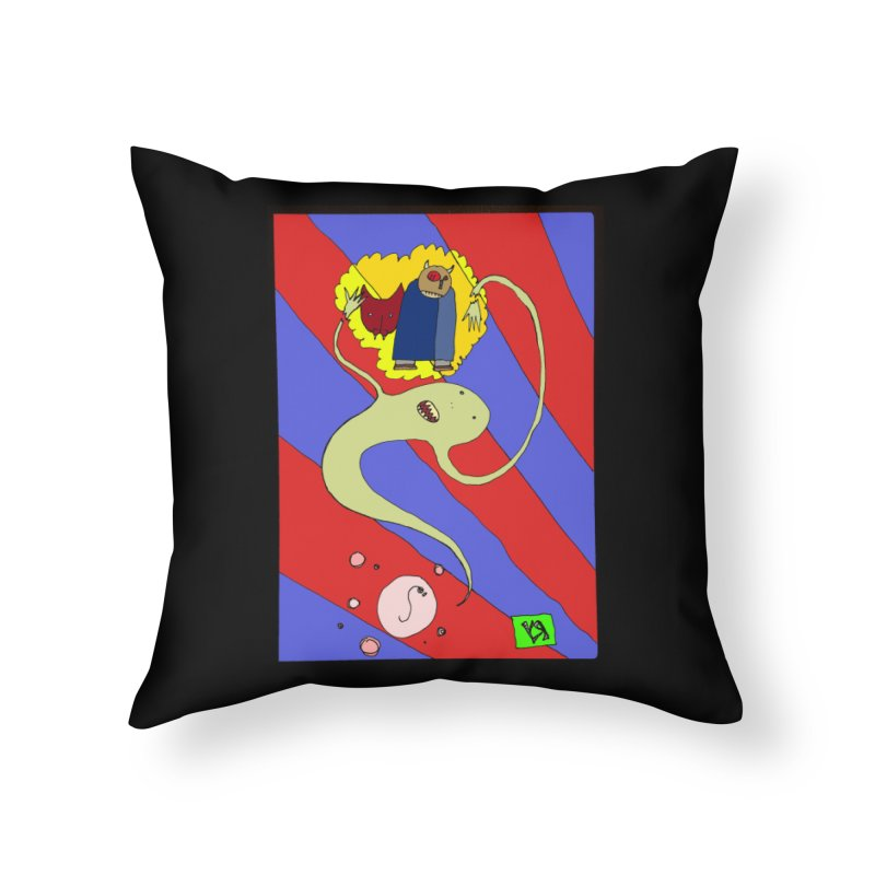 """The Dangers of Travel by Thought Bubble"" by Richard F. Yates Home Throw Pillow by The Primitive Entertainment Workshop!"