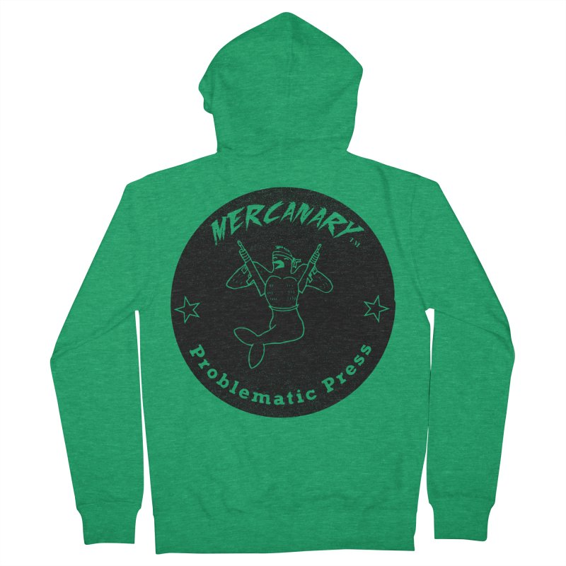 MERCANARY - LOGO - GRITTY BLACK Women's Zip-Up Hoody by Problematic Press - Operation: MERC(H)ANARY