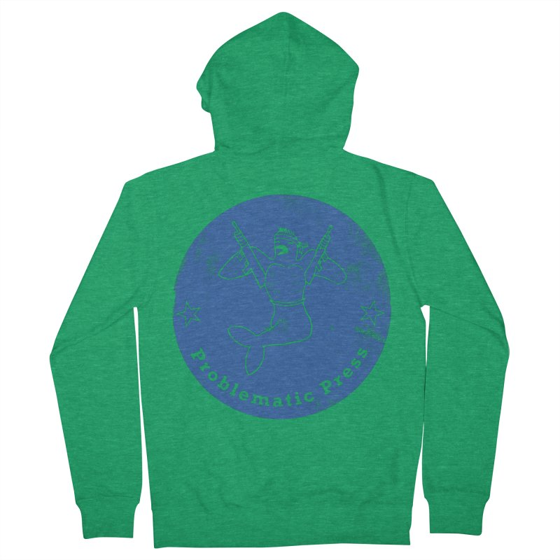 PROBLEMATIC PRESS - LOGO - WEATHERED BLUE Women's Zip-Up Hoody by Problematic Press - Operation: MERC(H)ANARY