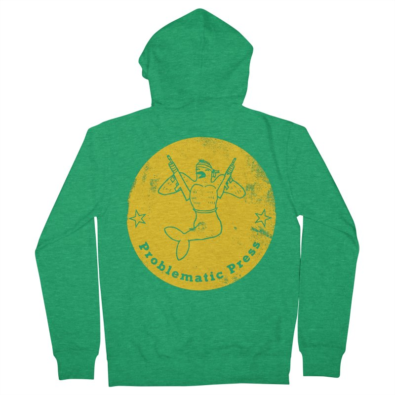 PROBLEMATIC PRESS - LOGO - ALTERNATE WEATHERED YELLOW Women's Zip-Up Hoody by Problematic Press - Operation: MERC(H)ANARY