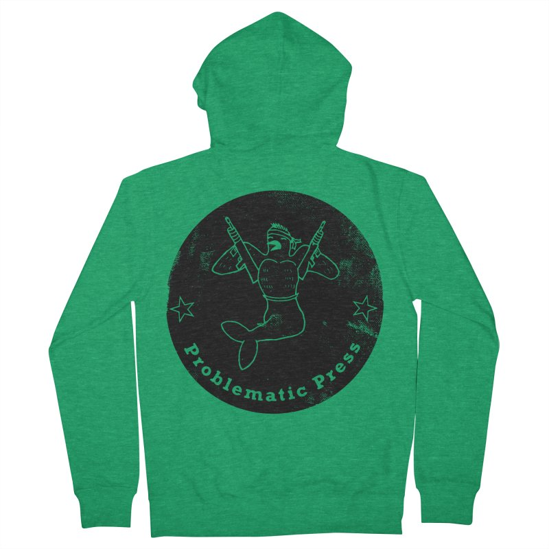 PROBLEMATIC PRESS - LOGO - GRITTY BLACK Women's Zip-Up Hoody by Problematic Press - Operation: MERC(H)ANARY