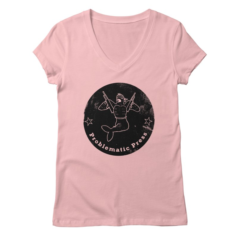 PROBLEMATIC PRESS - LOGO - GRITTY BLACK Women's V-Neck by Problematic Press - Operation: MERC(H)ANARY