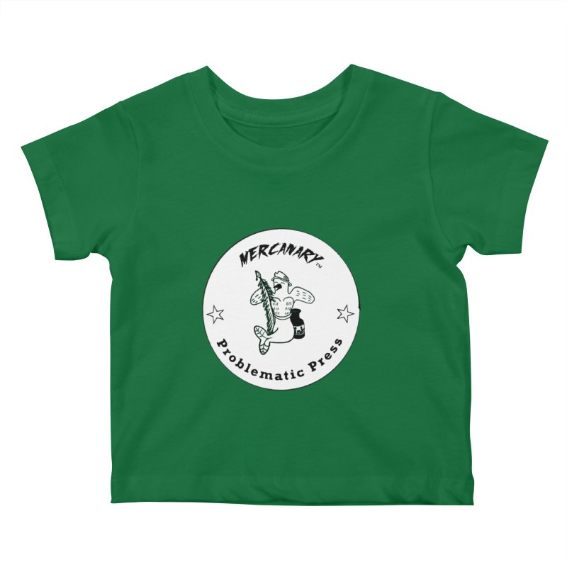 MERCANARY LOGO - Black and White Kids Baby T-Shirt by Problematic Press