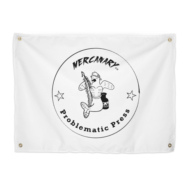 MERCANARY LOGO - Black and White Home Tapestry by Problematic Press