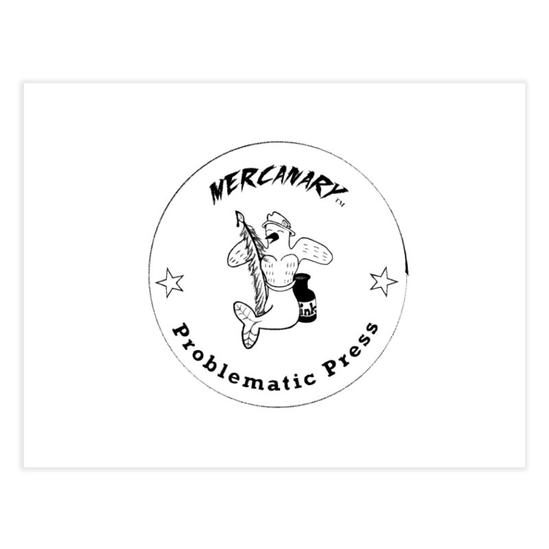 MERCANARY LOGO - Black Lines and White Stars Home Fine Art Print by Problematic Press