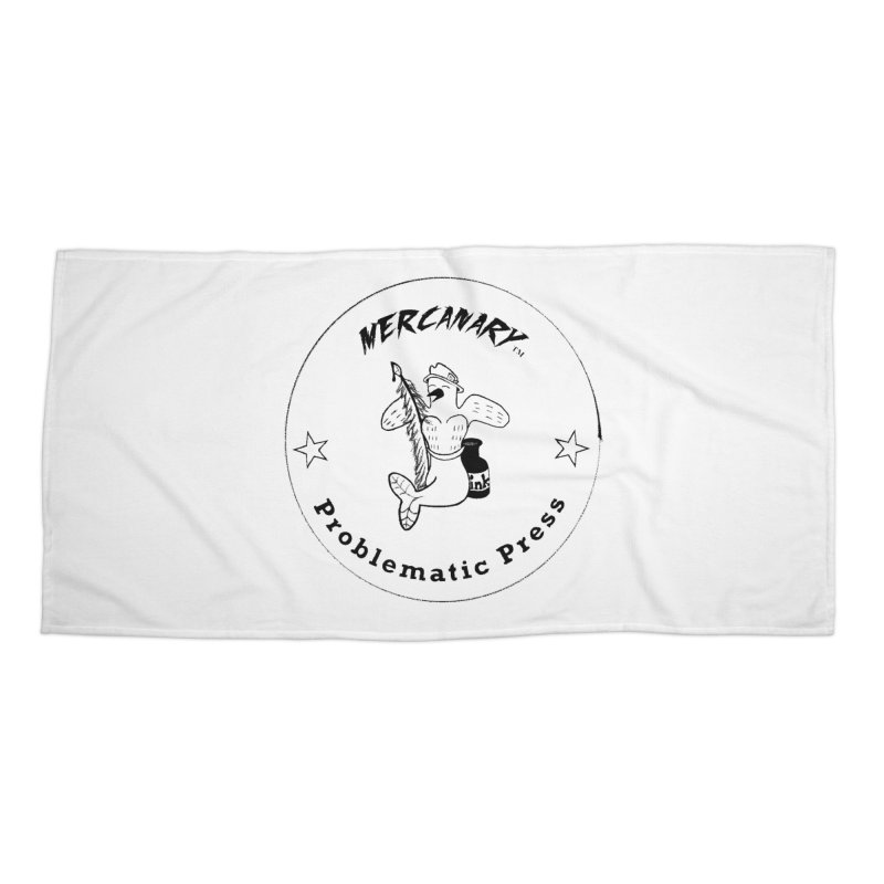 MERCANARY LOGO - Black Lines and White Stars Accessories Beach Towel by Problematic Press
