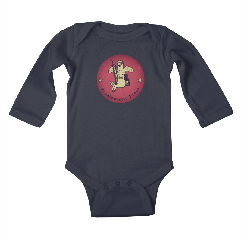 PROBLEMATIC PRESS OFFICIAL LOGO Kids Baby Longsleeve Bodysuit by Problematic Press