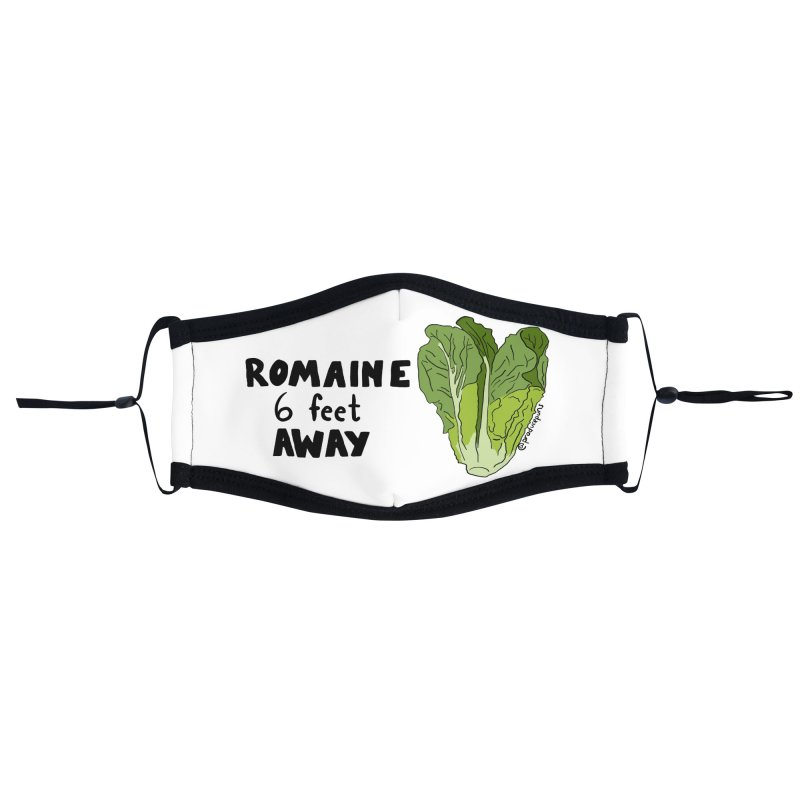 ROMAINE 6 Feet Away Face Mask Accessories Face Mask by Produce Puns