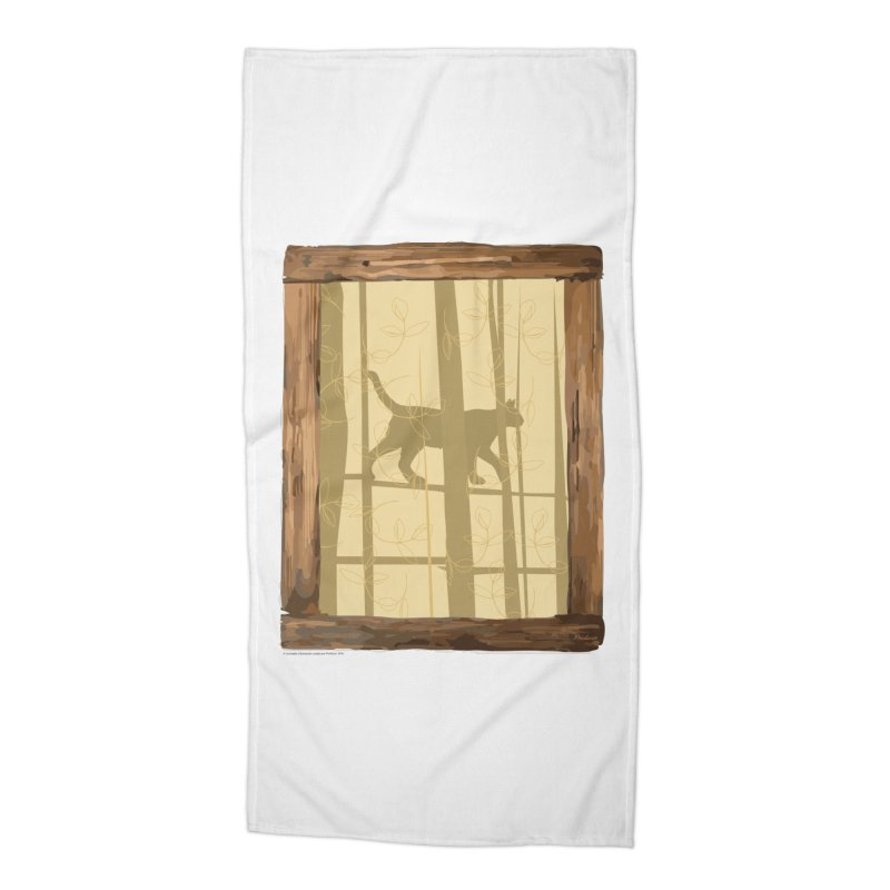 Cat at the Window Accessories Beach Towel by Producer original ideas on tees and accesories