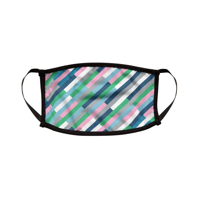 Bricks Rotate 45 Green Accessories Face Mask by Emeline
