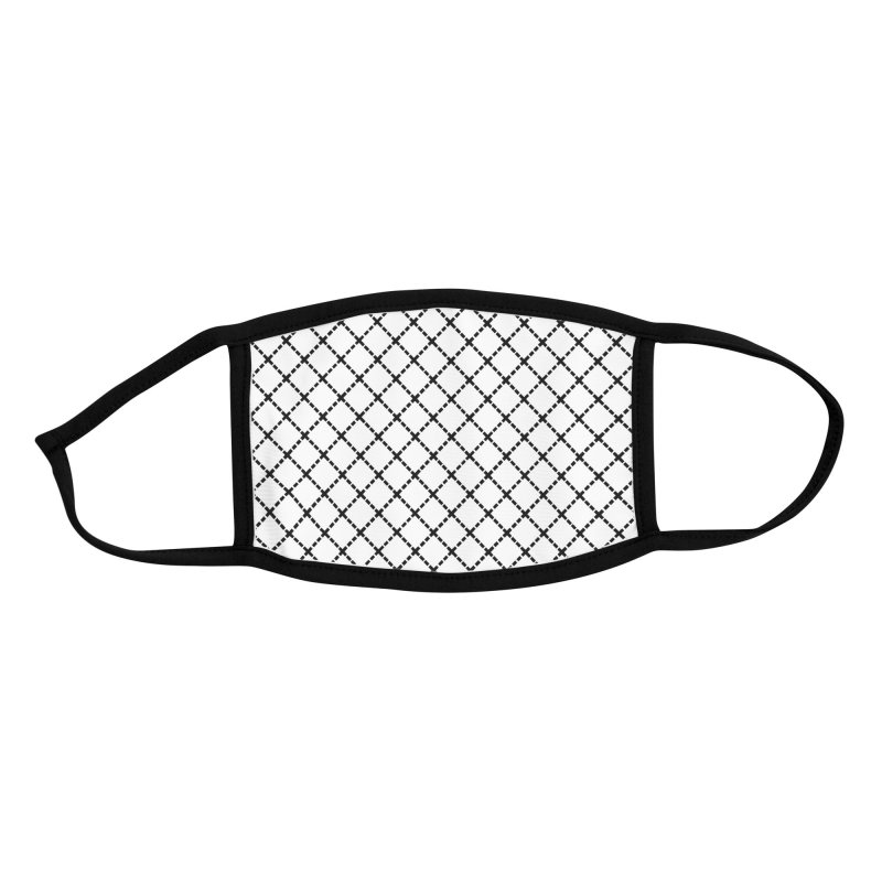Dotted Grid 45 Black on White Accessories Face Mask by Emeline