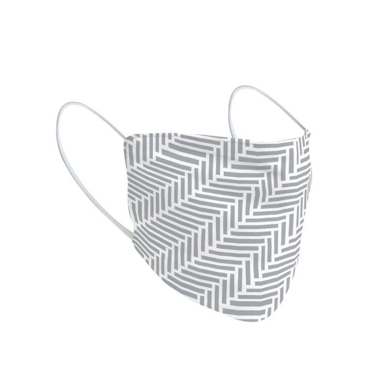 Herringbone 45 Grey Accessories Face Mask by Emeline