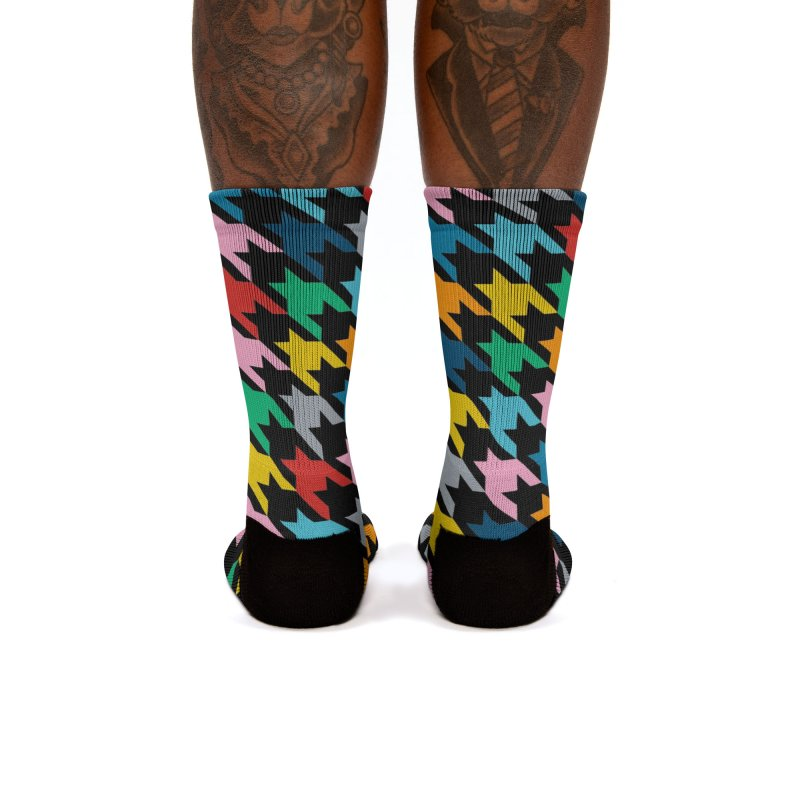 Houndstooth Rainbow Black Women's Socks by Emeline