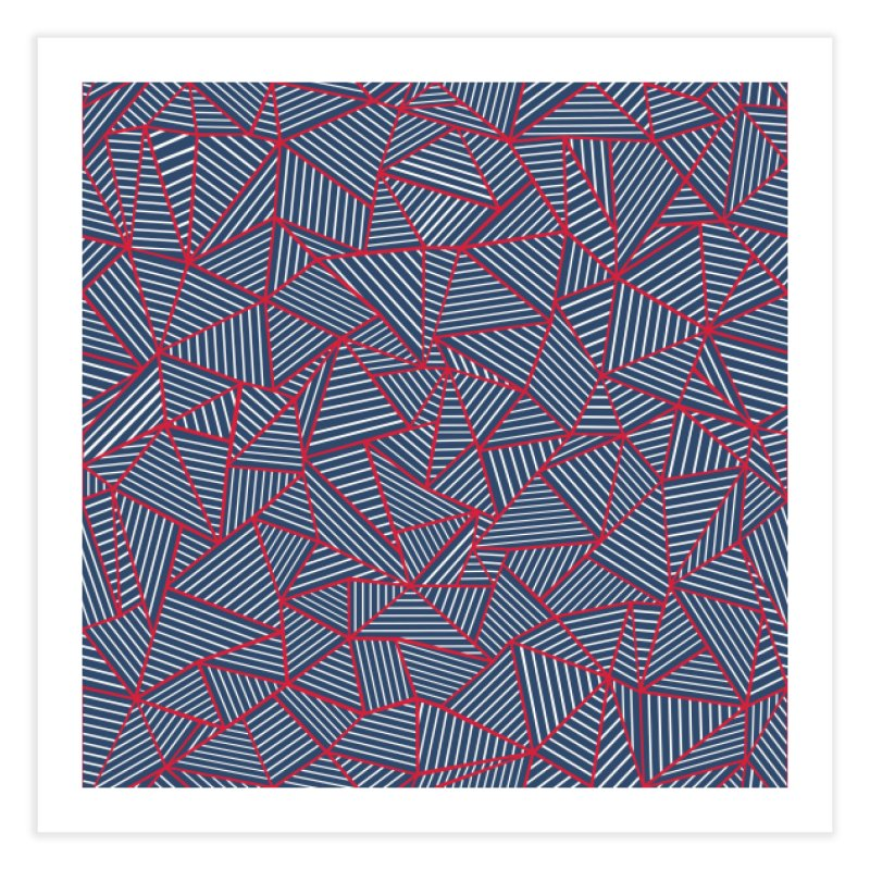 Ab Lines Red on Navy in Fine Art Print by Project M's Artist Shop