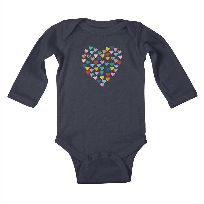 Hearts Heart Kids Baby Longsleeve Bodysuit by Emeline